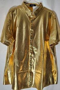 Metallic Gold Short-sleeve Button Up